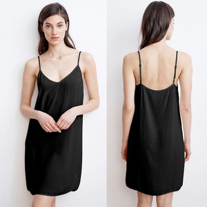 Velvet mini Slip black dress Adjustable Straps L